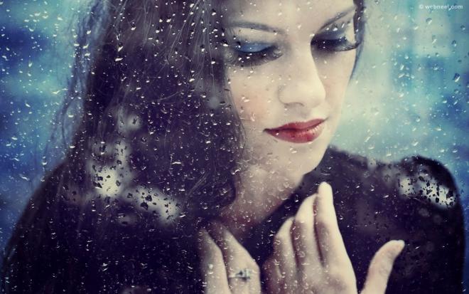 rain wallpaper beautiful girl