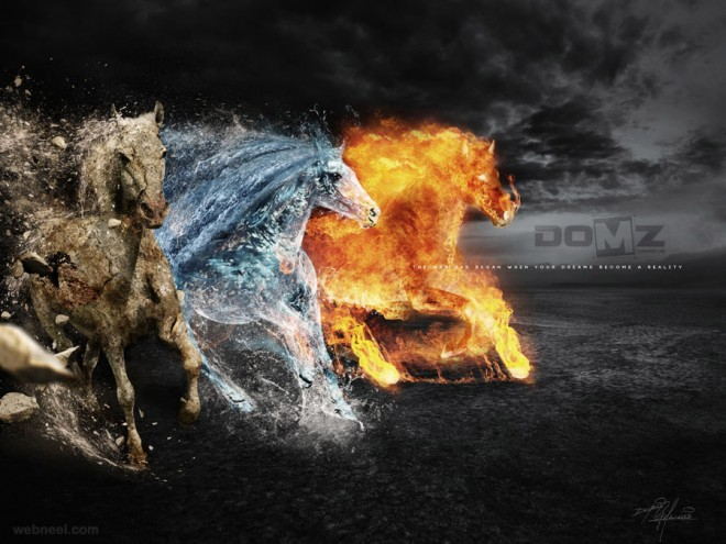 digital art photo manipulation fire water stone ads