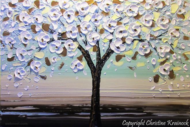 tree modern palette knife paintings