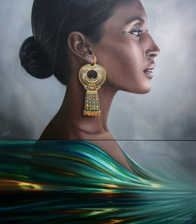 woman realistic painting