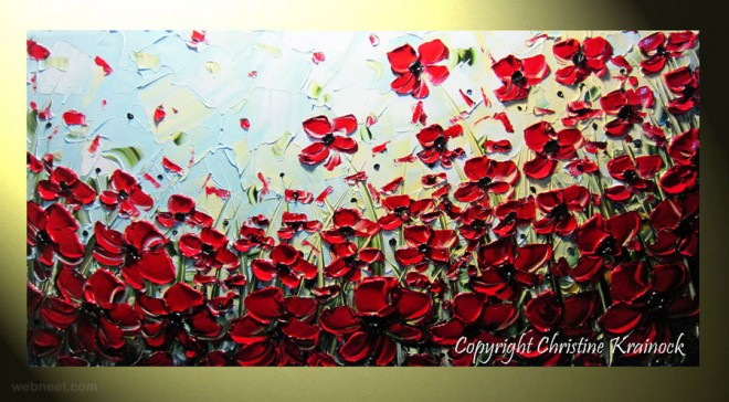 red poppies palette knife paintings