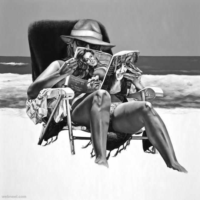beach girls oil paintings