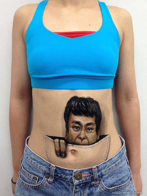 body art illusion surreal face painting