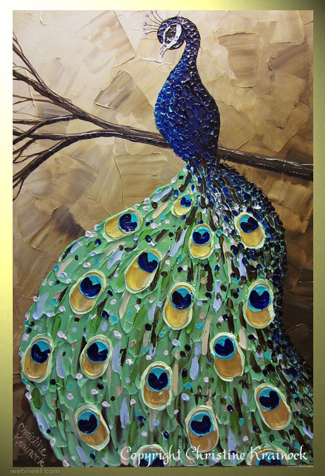 peacock palette knife paintings