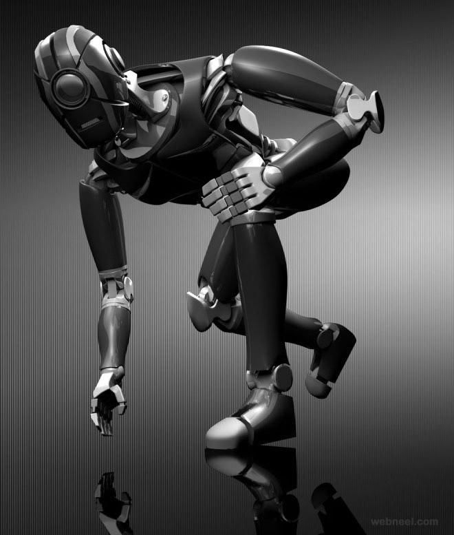 3d robot woman