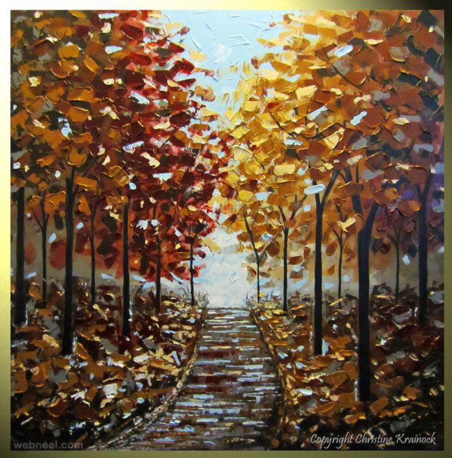 part trees gold palette knife paintings
