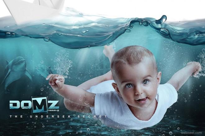 baby under water digital art