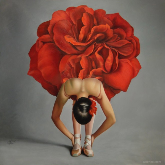 rose woman painting