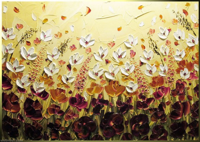 flowers palette knife paintings