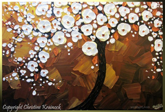 cherry tree modern palette knife paintings