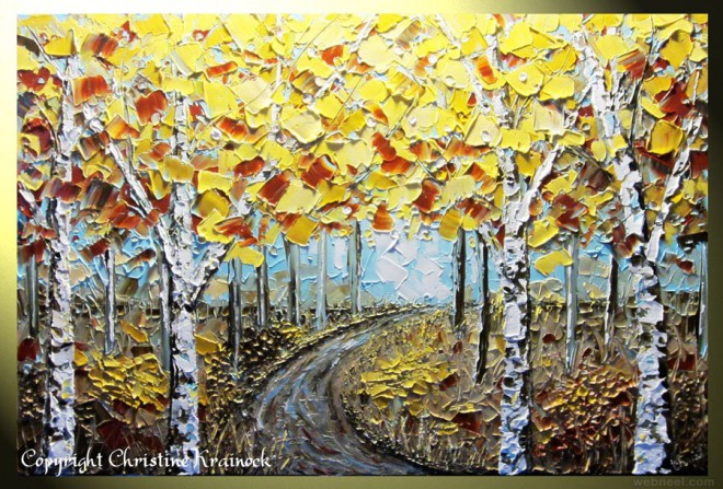 abstract tree palette knife paintings