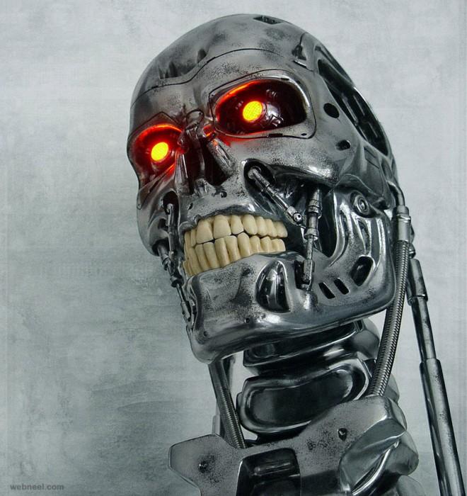 3d robot skull
