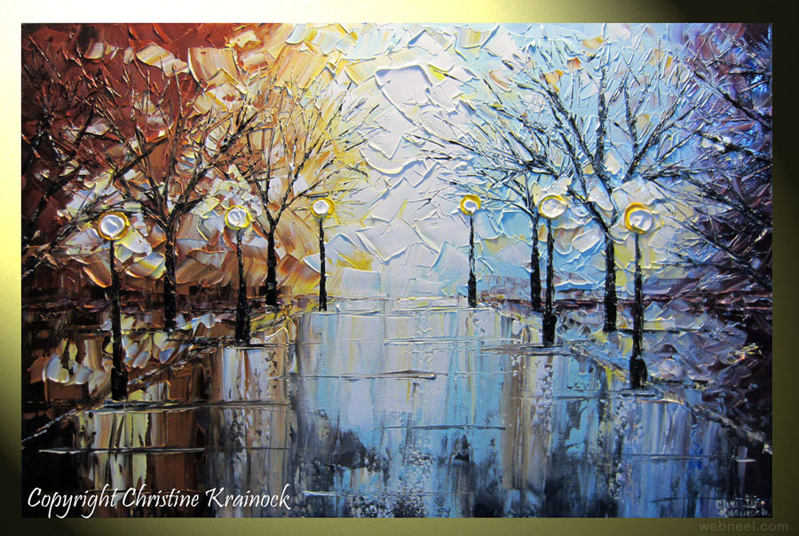 rain city park lights winter palette knife paintings