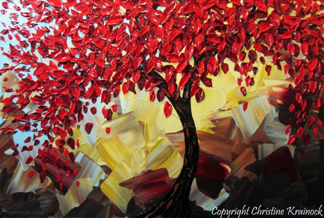 red tree landscapes palette knife paintings
