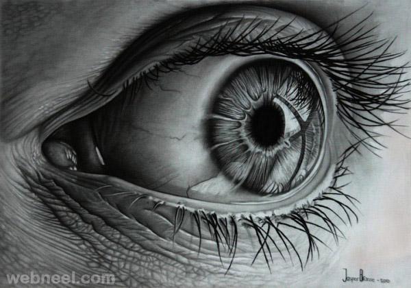 charcoal drawing eye
