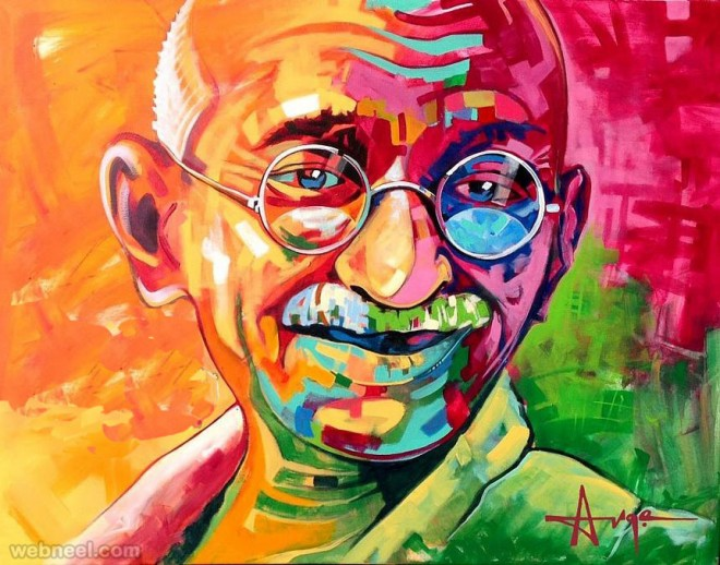 indian gandhi paintings