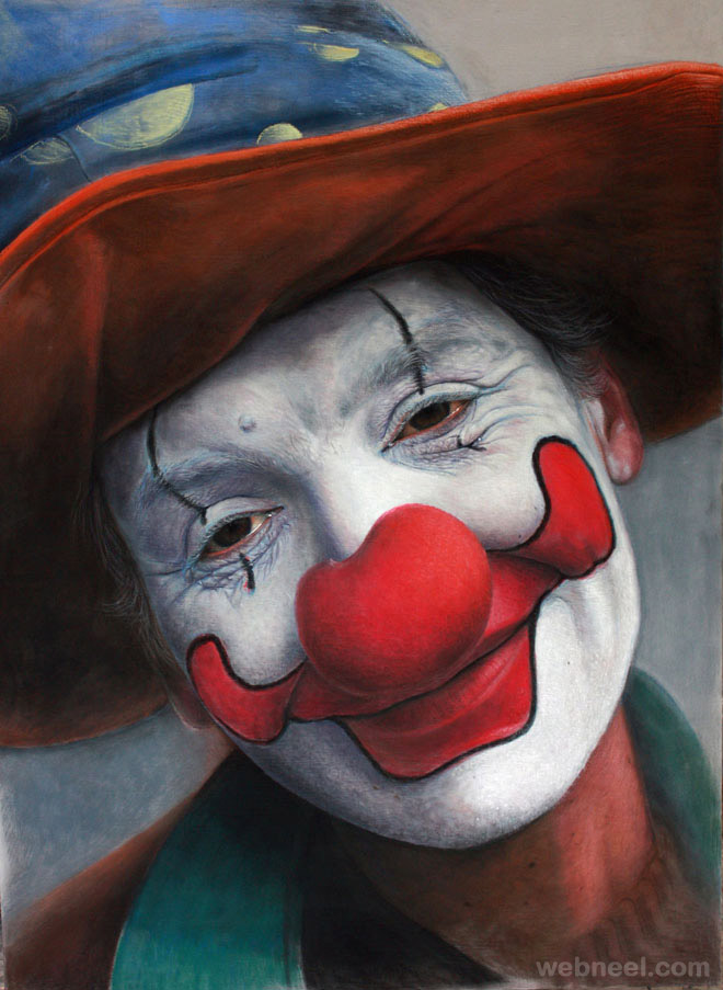 pastel painting clown