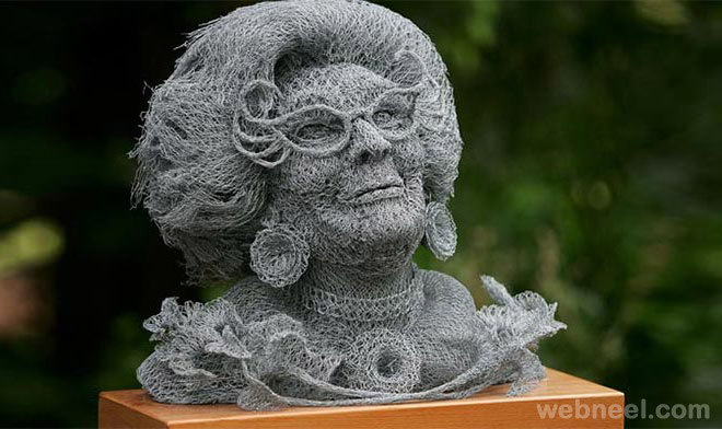 wire sculpture face