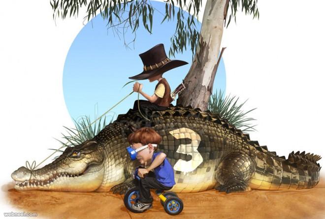 crocodile digital paintings loopy dave