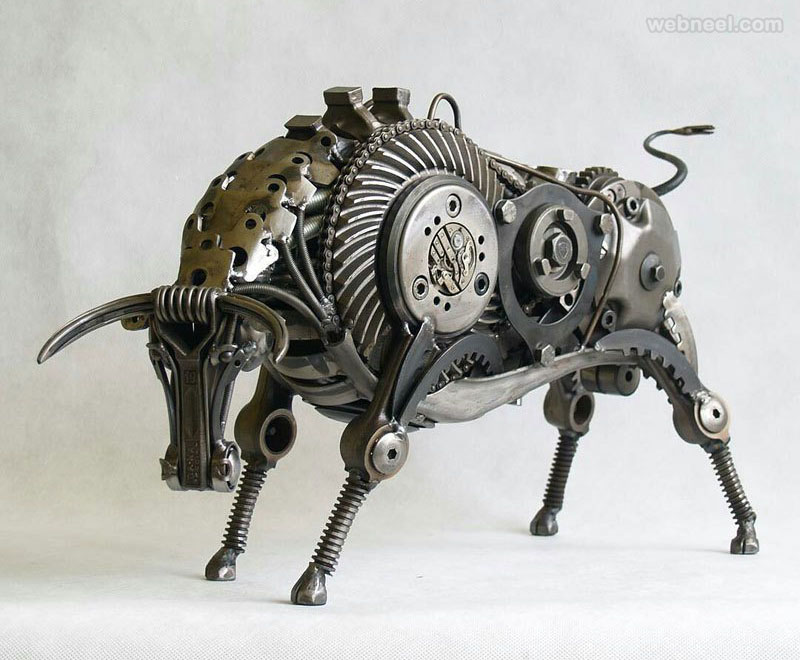 bull metal sculpture