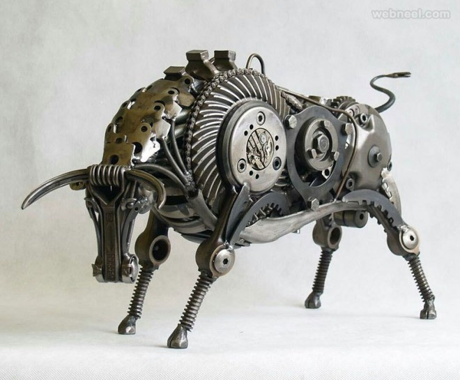 bull metal sculpture by tomas vitanovsky