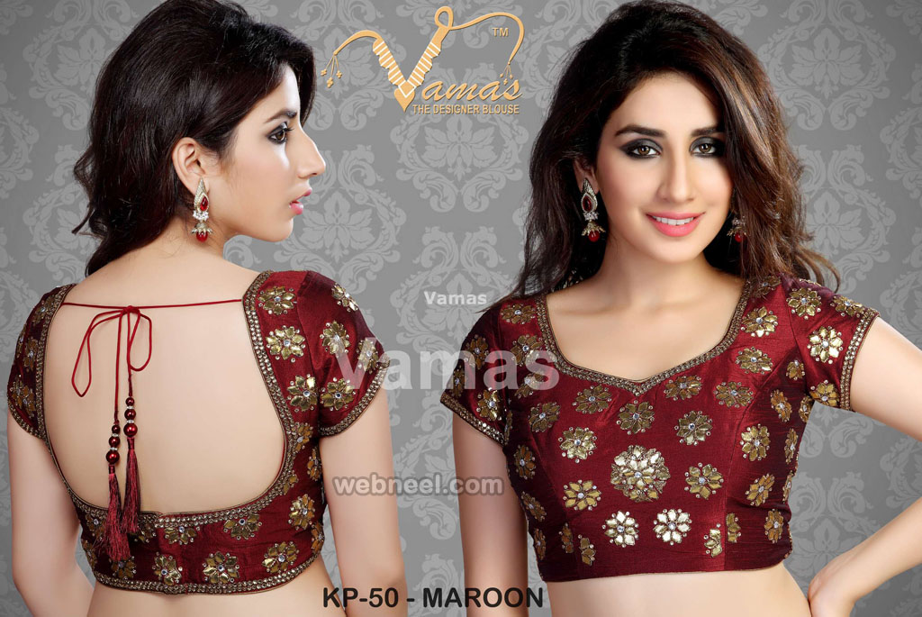 round neck blouse design by vamas