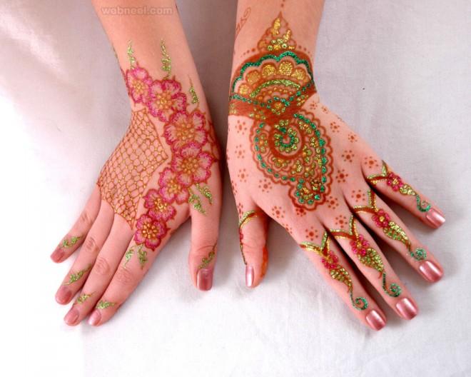 mehndi design gliding glitter