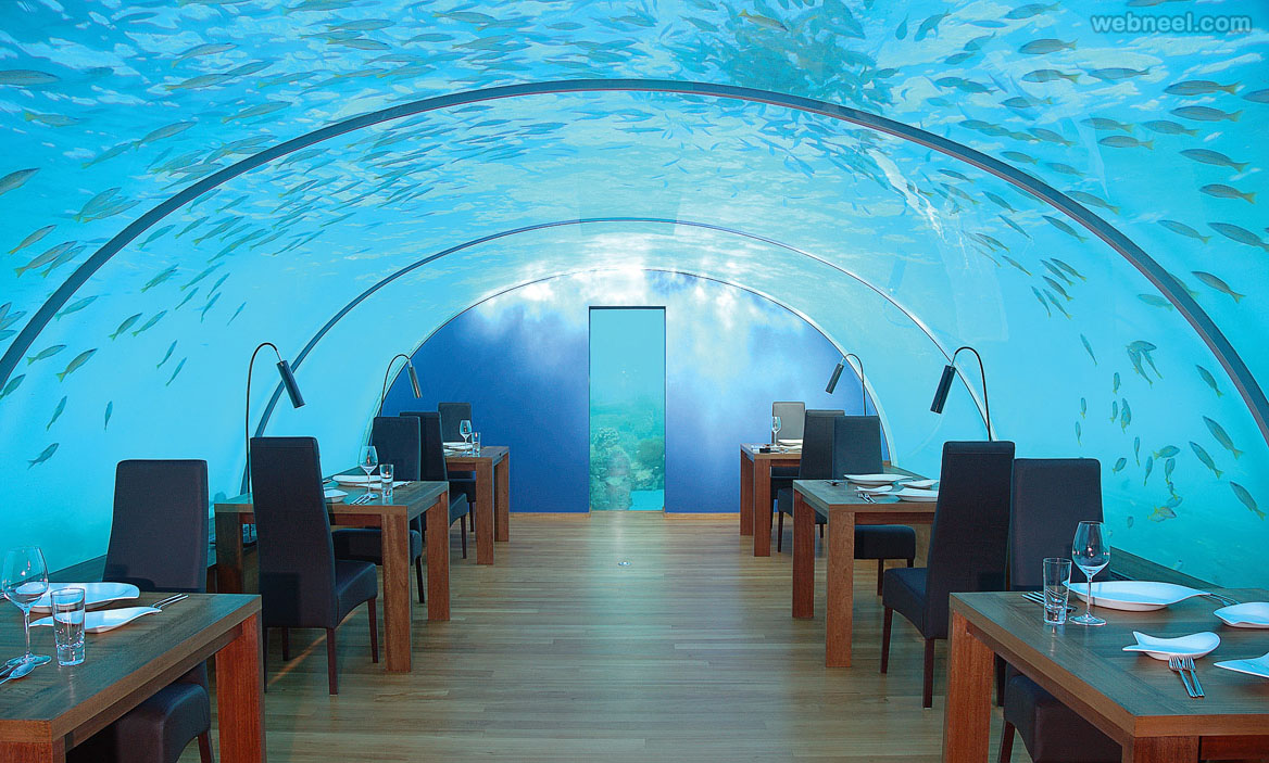 restaurant design undersea ithaa maldives