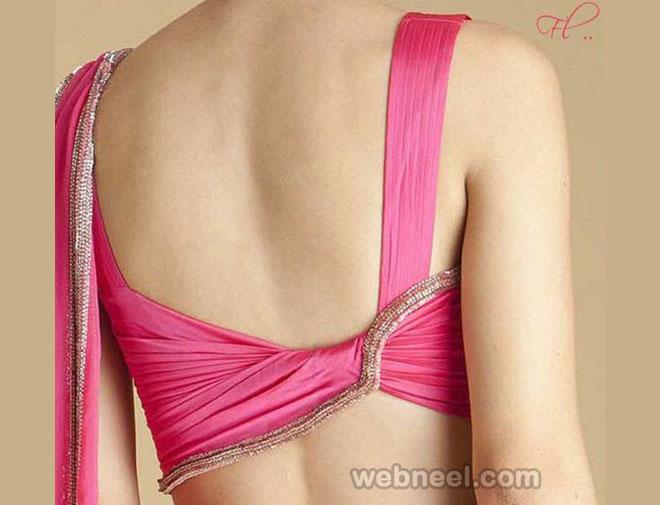 pink designer blouse design