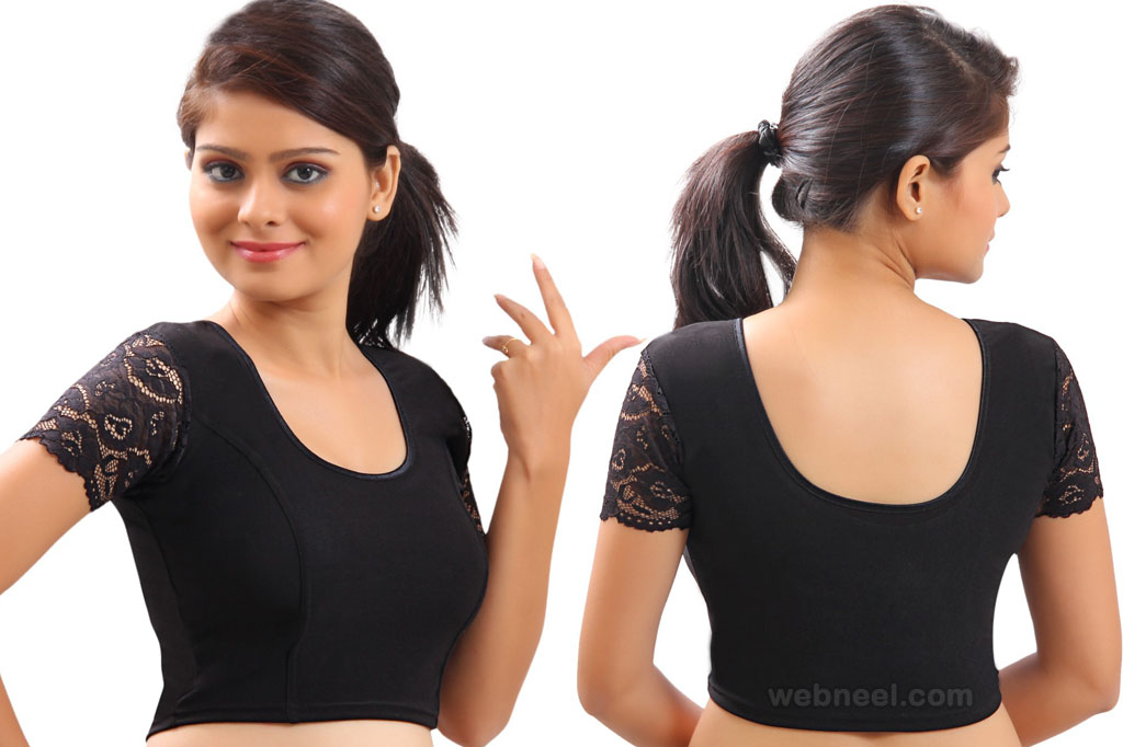 lycra black lace stretchable blouse pattern
