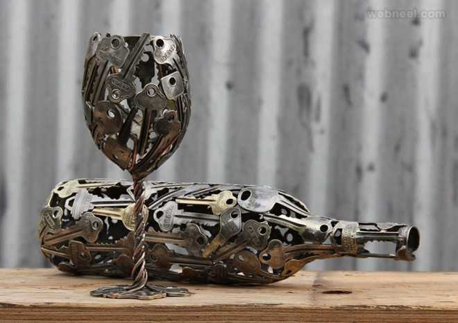wine glass metal sculpture by michael moerkerk
