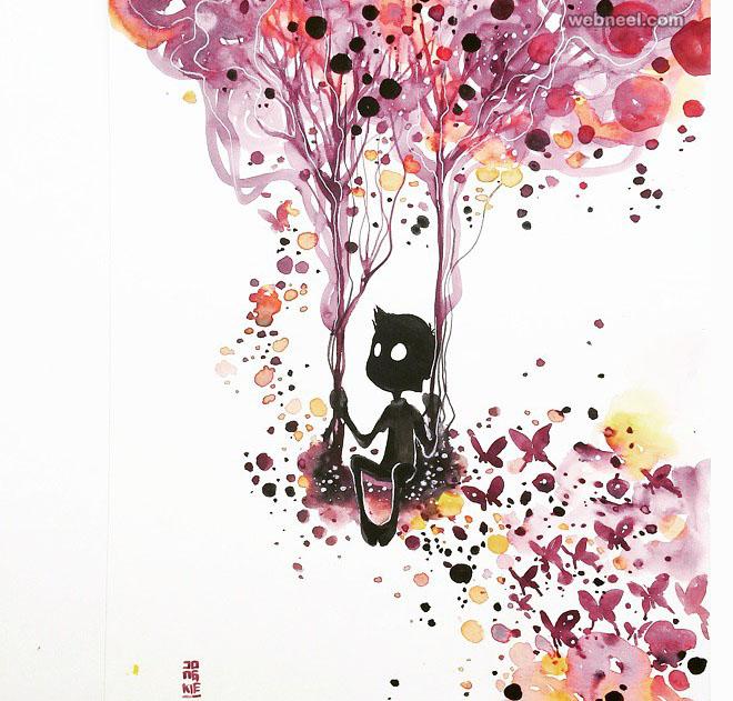 swing watercolor painting by luqmanreza