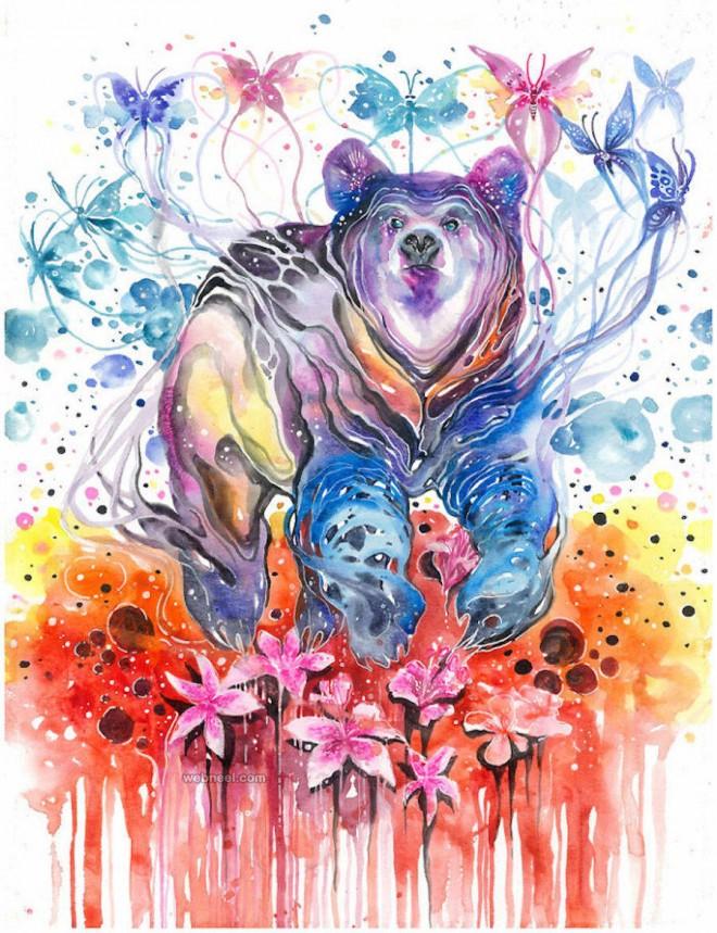 bear watercolor painting by luqmanreza