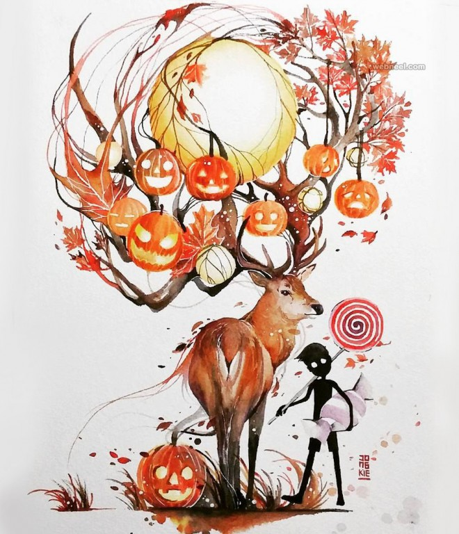 halloween watercolor painting by luqmanreza