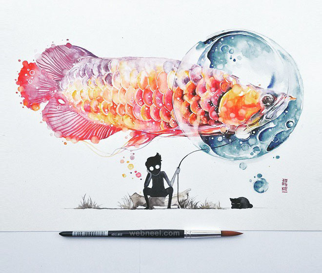 sad watercolor painting by luqmanreza