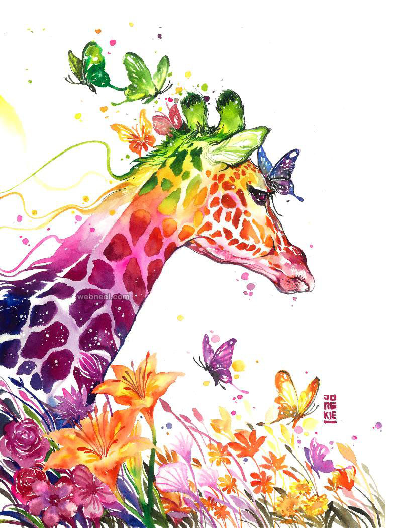 giraffe watercolor painting