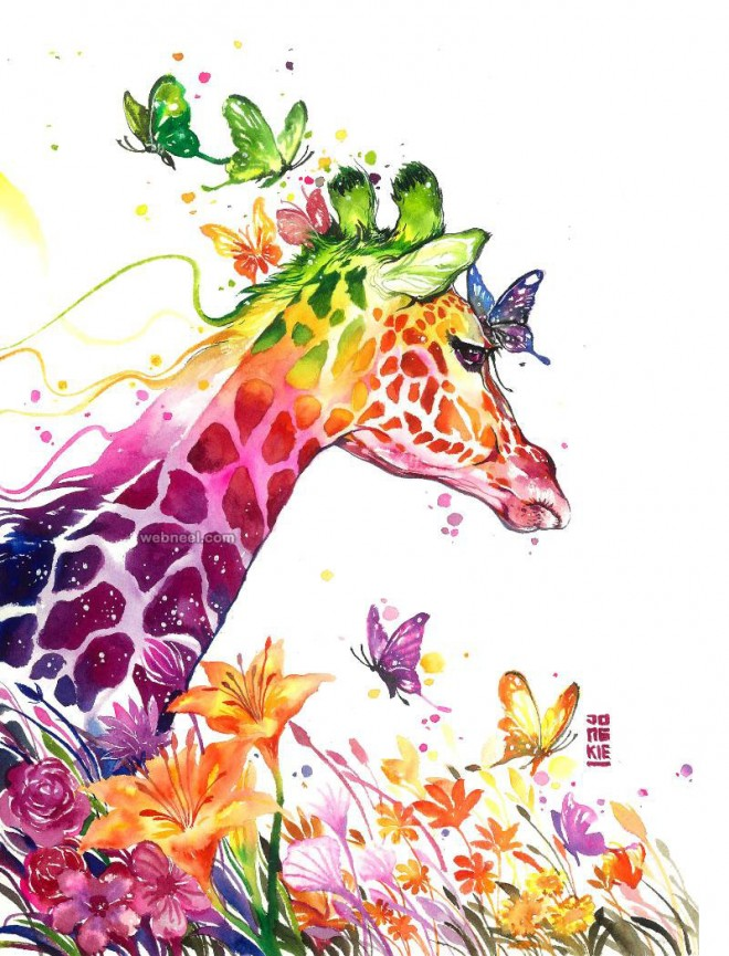 giraffe watercolor painting by luqmanreza