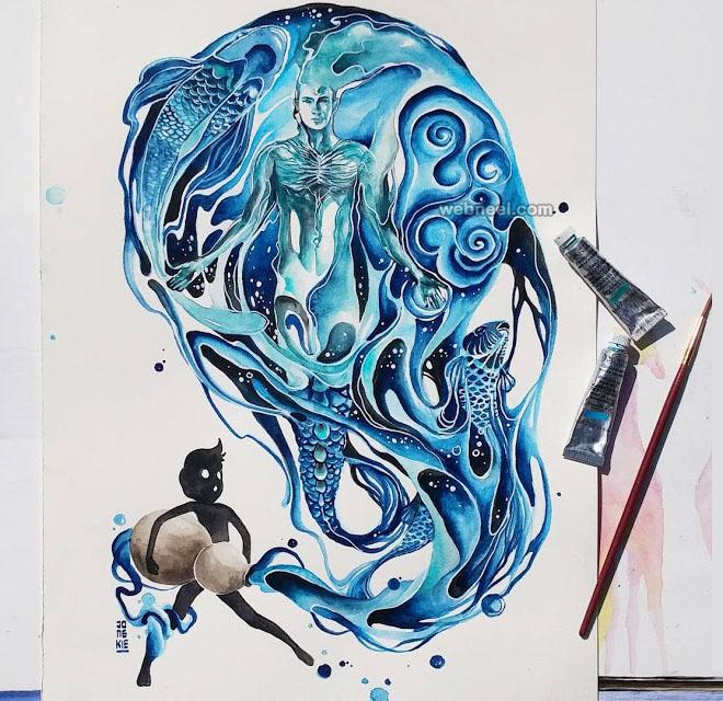aquarius watercolor painting