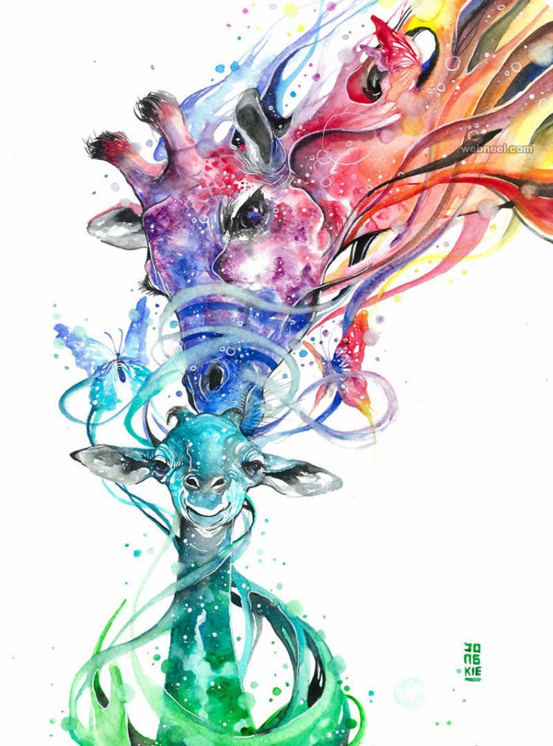 giraffe watercolor painting