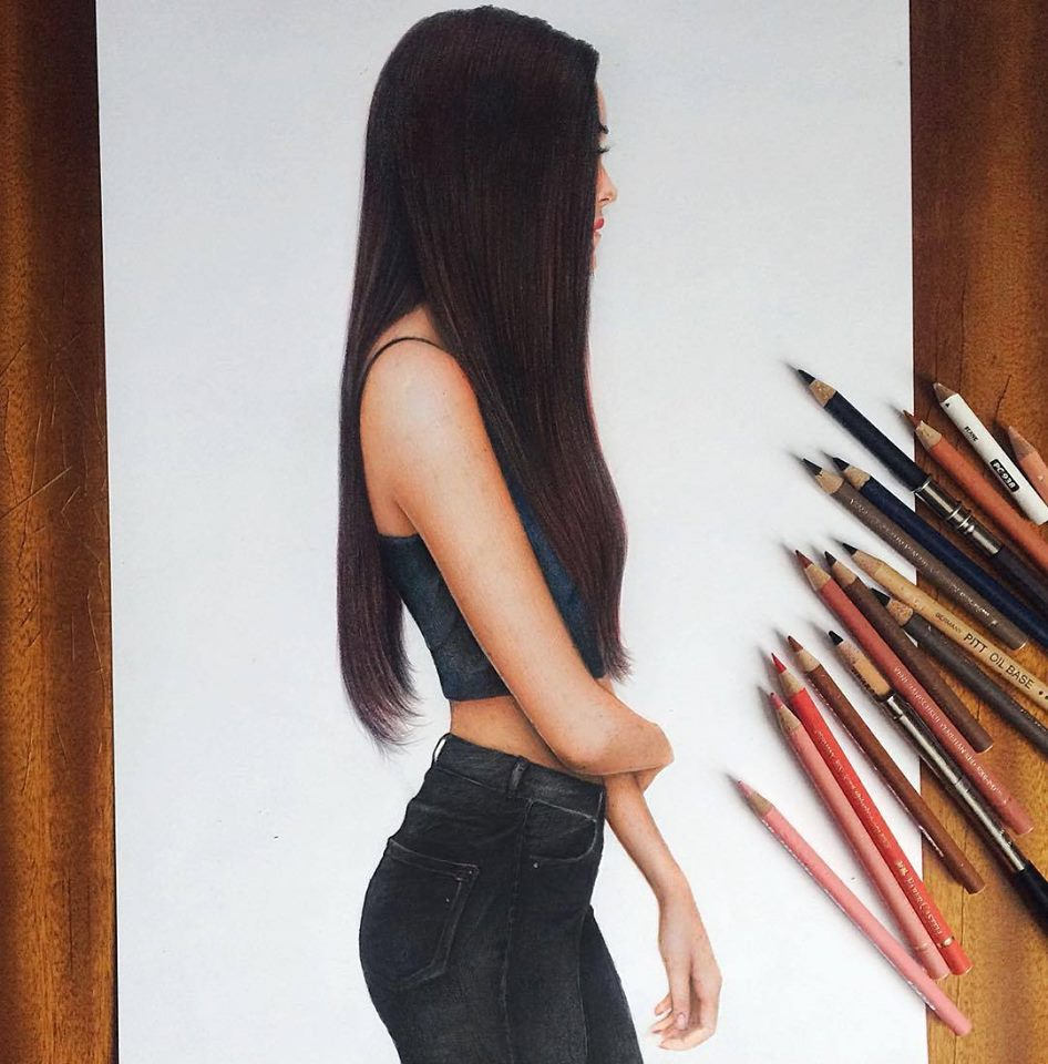 girl color pencil drawing by marat art