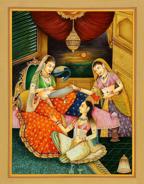 peacock rajasthani rajput painting