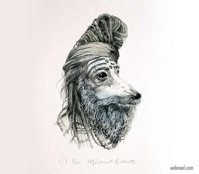 pencil drawing dog baba funny by michaelgillette