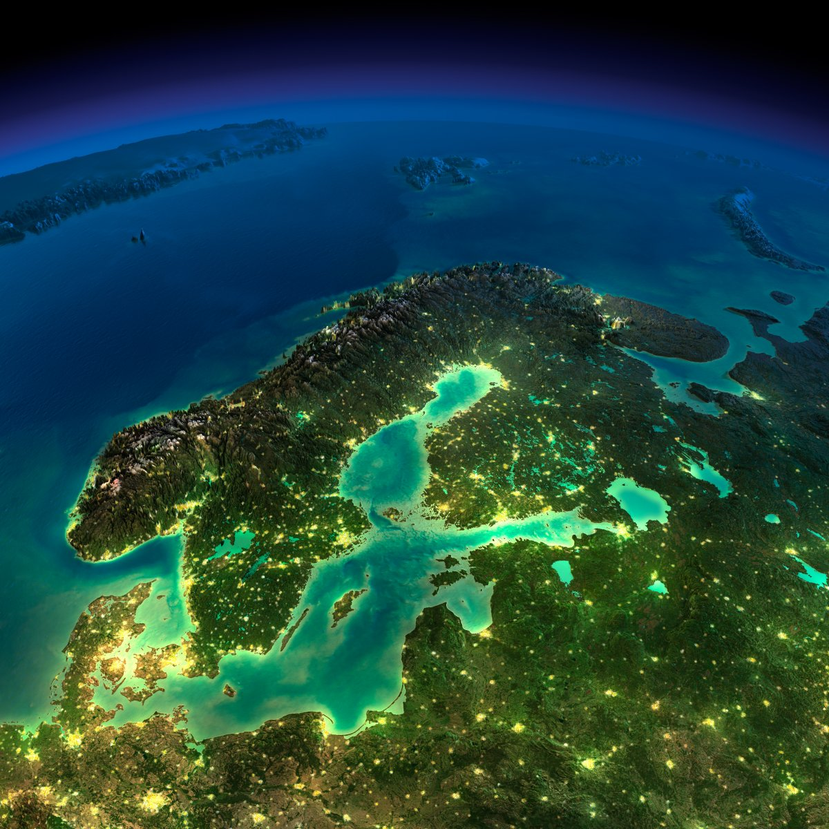 earth night photos europe