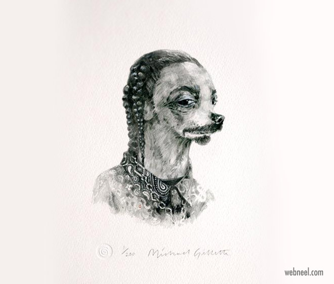 pencil drawing dog snoop funny by michaelgillette