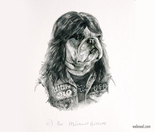 pencil drawing dog metal funny by michaelgillete