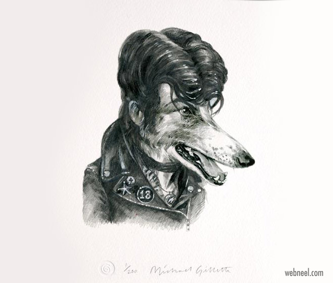pencil drawing dog rockerdawg funny by michaelgillete