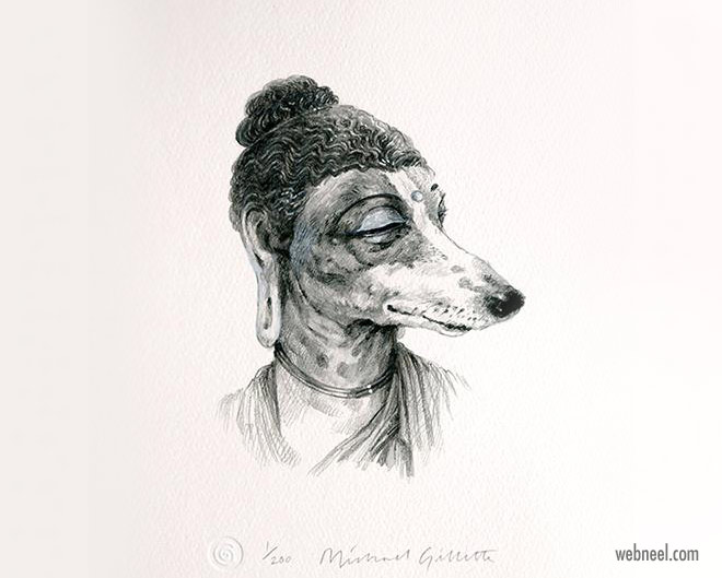pencil drawing dog buddha funny by michaelgillette