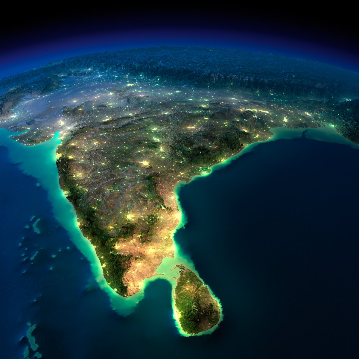 earth night photos india