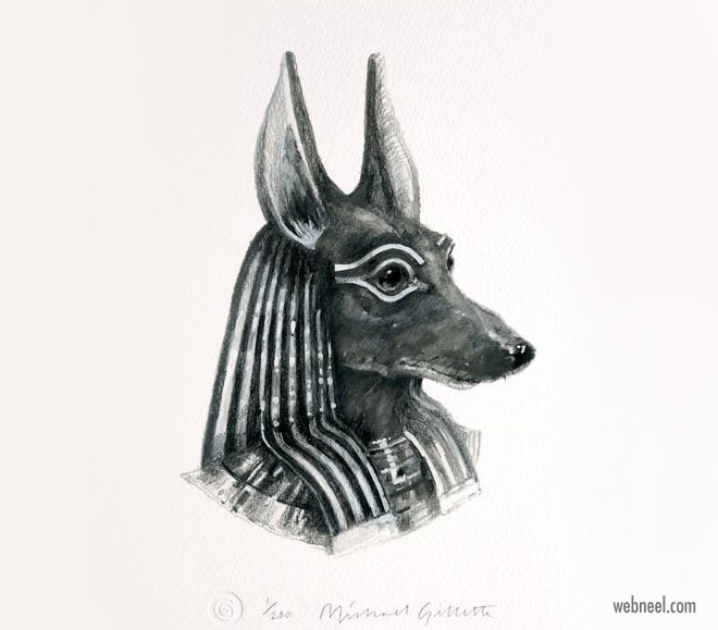pencil drawing dog anubis funny by michaelgillete