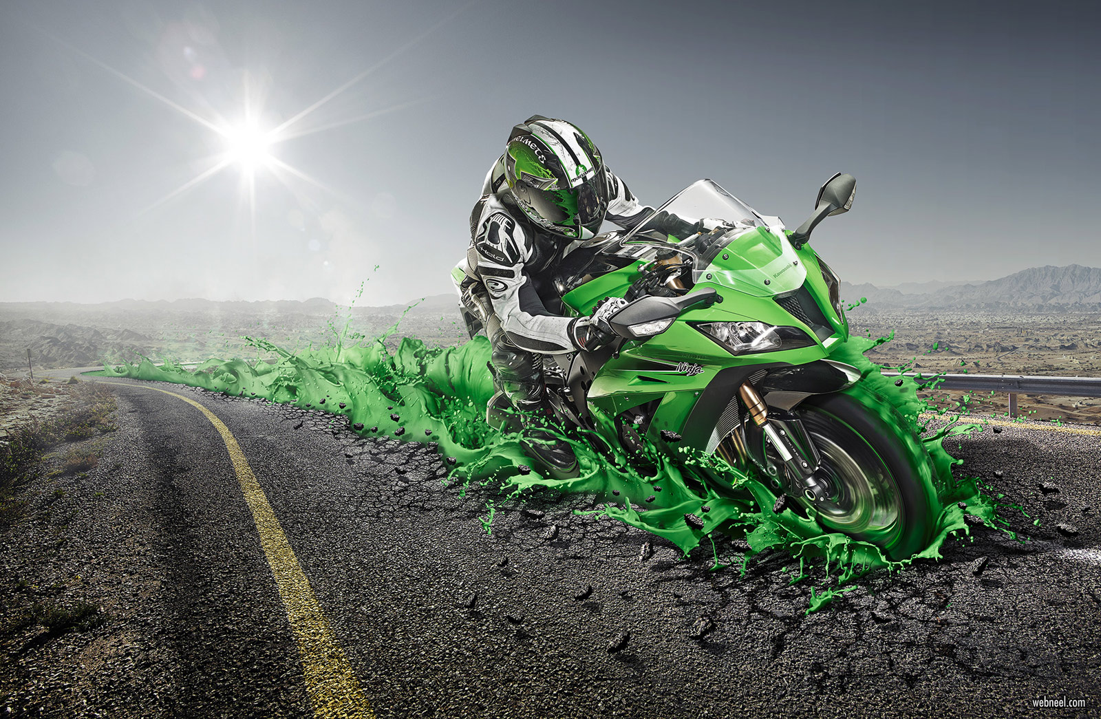 photo manipulation bike road kawasaki ad